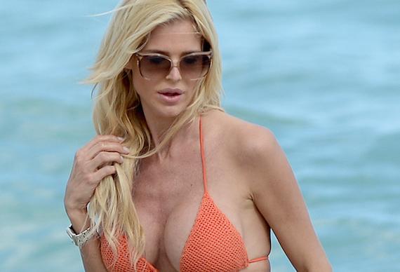Victoria Silvstedt Wears An Orange Mesh String Bikini On The Beach In Miami